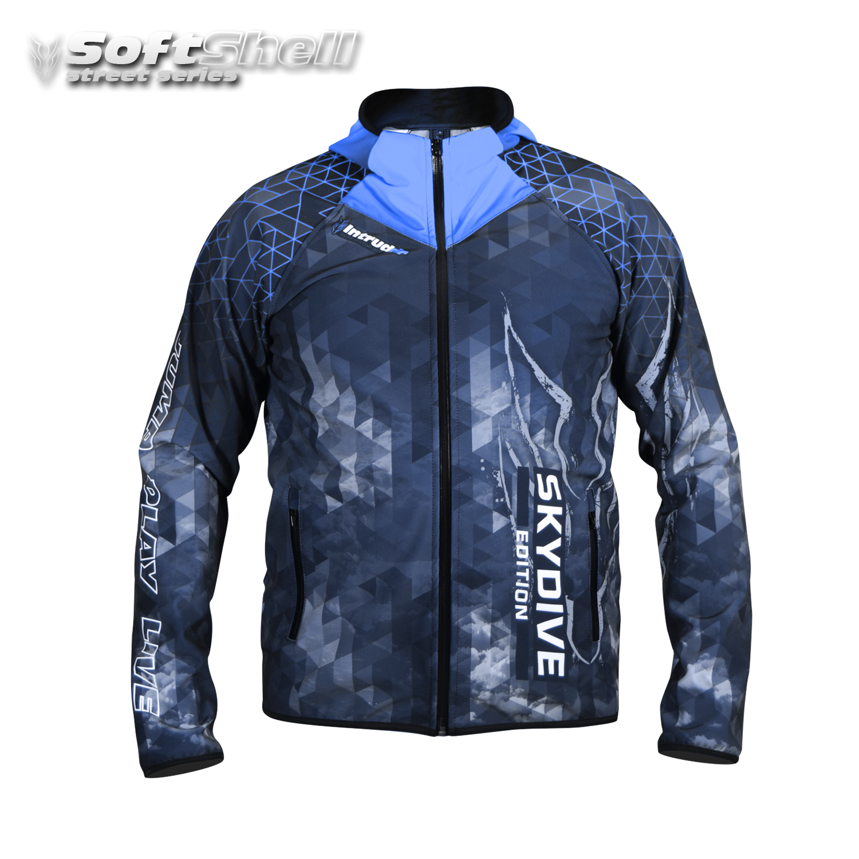 Softshell Jacket Blue Printed [Hood]