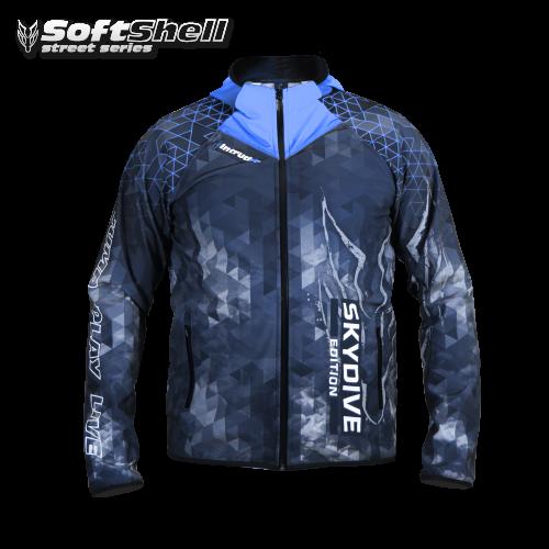 Softshell Jacket Blue Printed [Hood] PRE-ORDER