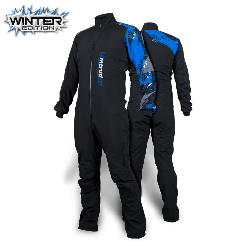 Winter Softshell Suit Black/Blue Print