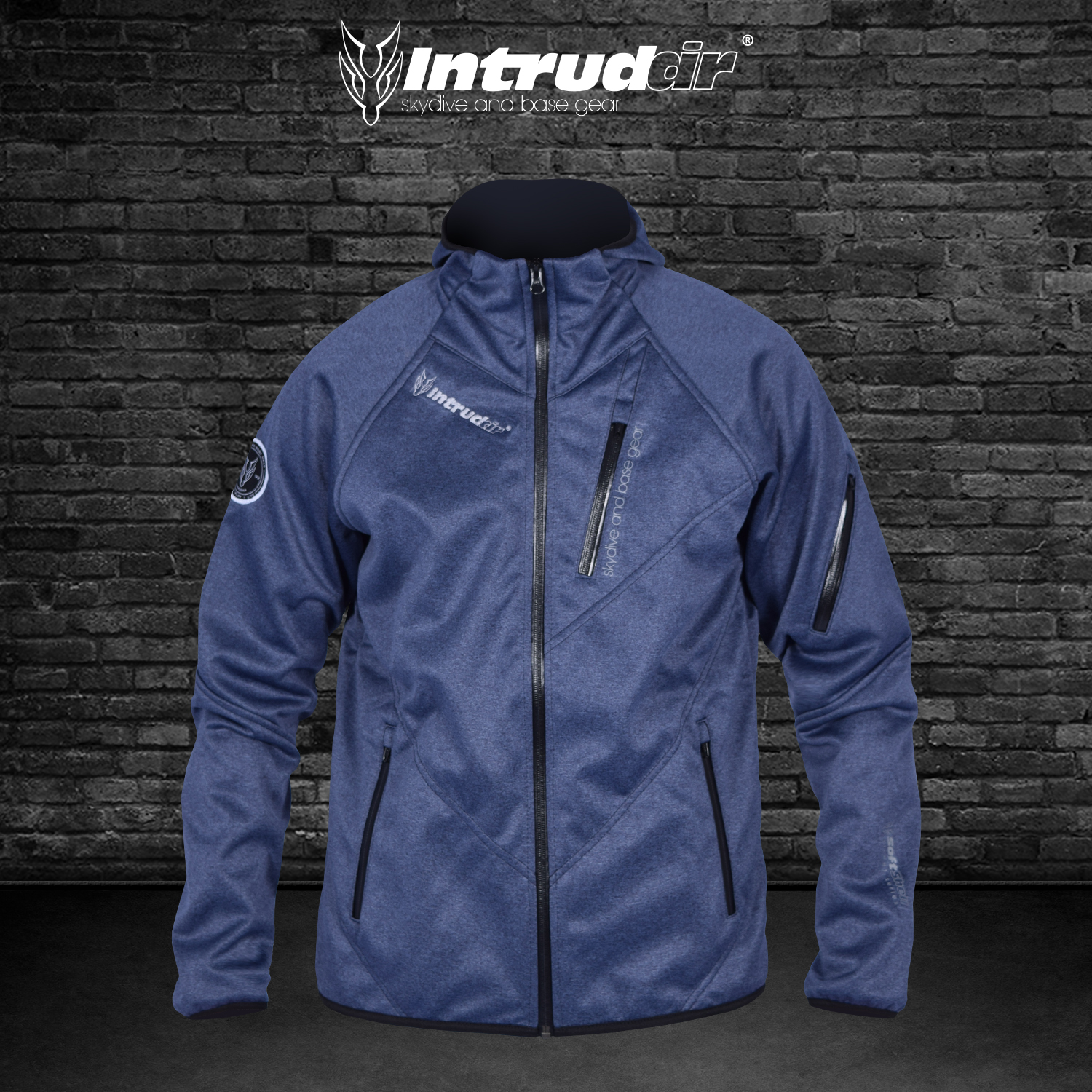 Softshell Jacket Blue Melange [Hood]