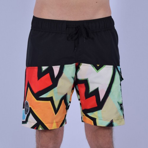 Men Funky Shorts S [Black/Print]