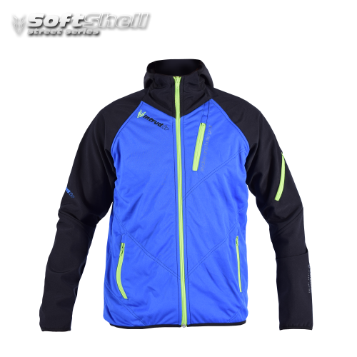 Softshell Jacket Blue/UV Lime [Hood]